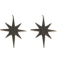 Aamaya By Priyanka Shooting Star Rose Gold Plated And Onyx Stud Earrings Rose Gold Black Onyx