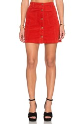 Minkpink Patch Cord Button Front Skirt Red