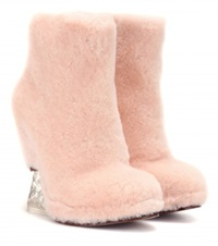 Fendi Fur Wedge Ankle Boots Pink