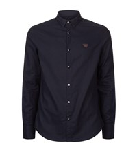 Armani Jeans Brushed Cotton Collar Shirt Male Navy