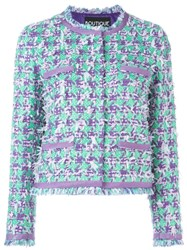 Boutique Moschino Houndstooth Boucla Jacket Pink And Purple