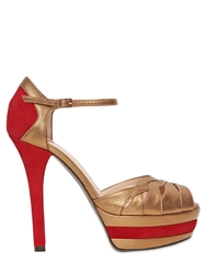 Ernesto Esposito 130Mm Suede And Leather Pumps Red