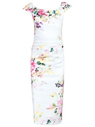 Jolie Moi Floral Ruched 40S Dress Cream
