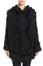 Women's Love Token Hooded Poncho With Genuine Rabbit Fur Trim Black