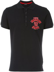 Diesel Chest Print Polo Shirt Black
