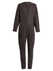 Isabel Marant Long Sleeved Cotton Poplin Jumpsuit Dark Grey