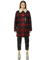 Maison Martin Margiela Plaid Wool And Faux Shearling Coat