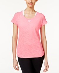 Ideology Striped Mesh T Shirt Only At Macy's Molten Pink