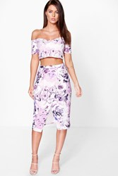 Boohoo Floral Wrap Midi Skirt And Crop Top Co Ord Set Multi