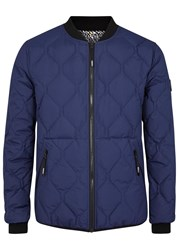 Kenzo Blue Quilted Reversible Bomber Jacket