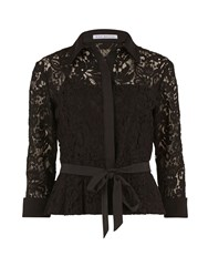Gina Bacconi Lace Blouse With Contrast Trim And Belt Black