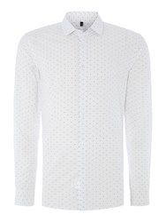 United Colors Of Benetton Printed Woven Long Sleeve Shirt White