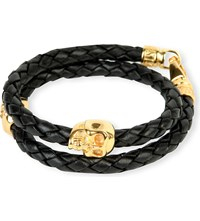 Nialaya Braided Leather And Gold Plated Skull Bracelet Black Gold