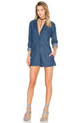 Shades Of Grey Double Placket Romper Blue