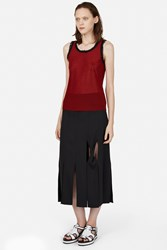 Opening Ceremony Glide Twisted Panel Mid Calf Skirt Black
