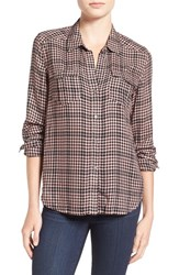 Paige Women's 'Mya' Plaid Shirt Black Adobe Rose