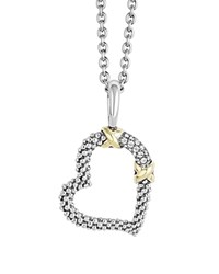 Lagos 18K Gold And Sterling Silver Xx Heart Pendant Necklace With Diamonds 16 Silver Gold