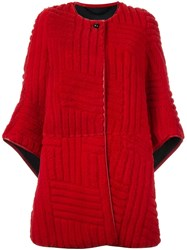 Kenzo Collarless Panelled Oversize Coat Red