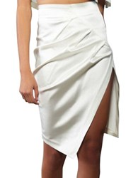 Kendall Kylie Asymmetrical Slim Pencil Skirt Bright White