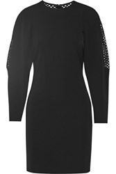 Stella Mccartney Stretch Jersey And Open Knit Mini Dress Black