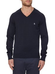 Original Penguin V Neck Cotton Jumper Dark Sapphire