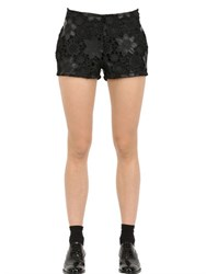 Esgivien Faux Leather And Macrame Lace Shorts