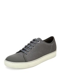 Lanvin Textured Leather Low Top Sneaker Light Gray Light Grey