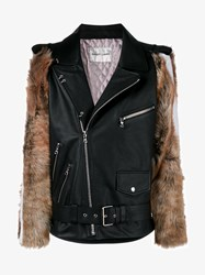Sandy Liang Leather And Shearling Rivington Biker Jacket Black Brown White