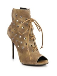 Giuseppe Zanotti Studded Suede Lace Up Booties