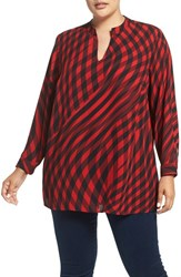 Vince Camuto Plus Size Women's 'Swept Check' Print Split Neck Blouse Radiant Red
