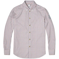 Moncler Gamme Bleu Stud Button Check Oxford Shirt Red White And Blue