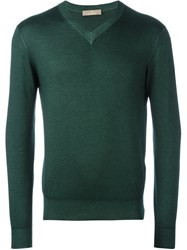 Cruciani V Neck Sweater Green