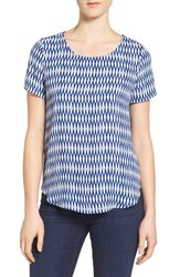 Pleione Women's Pleat Back Woven Print Top Navy White