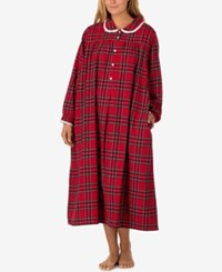 Lanz Of Salzburg Plus Size Peter Pan Collar Flannel Nightgown Red Plaid