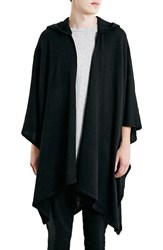 Men's Topman Black Knit Hooded Cape
