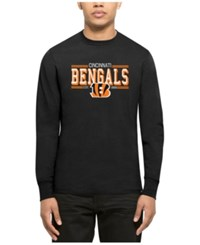 47 Brand '47 Men's Cincinnati Bengals Double Option Splitter Long Sleeve T Shirt Black Orange Orange
