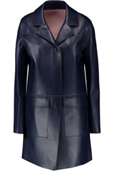 Msgm Faux Leather Coat Midnight Blue