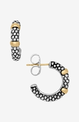 Lagos Two Tone Caviar Hoop Earrings Sterling Silver Gold