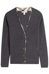 Burberry Brit Wool Cardigan With Checked Trim Grey