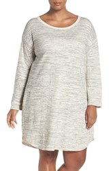 Caslonr Plus Size Women's Caslon A Line Dress Ivory Grey Pattern