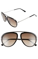 Men's Tom Ford 'Stacy' 57Mm Aviator Sunglasses Shiny Black Gradient Roviex