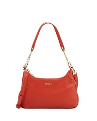 Furla Julia Chain Small Leather Hobo Bag Maple
