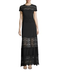 Betsy And Adam Cap Sleeve Lace Gown Black