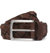 Hugo Boss 3.5Cm Brown Braided Leather Belt Brown