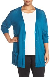 Halogenr Plus Size Women's Halogen Lightweight V Neck Cardigan Teal Moroccan