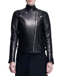 Givenchy Wool Leather Long Moto Coat