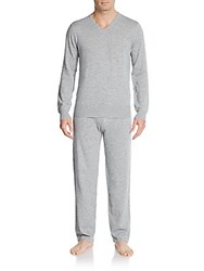 Saks Fifth Avenue Cashmere V Neck Sweater And Pants Set Grey