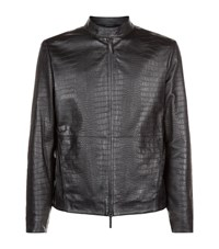 Armani Collezioni Alligator Embossed Leather Jacket Male Black