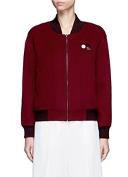 Crush Collection X Du Juan Detachable Knit Vest Cashmere Bomber Jacket Red