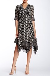 Taylor Short Sleeve Printed Chiffon Dress Black